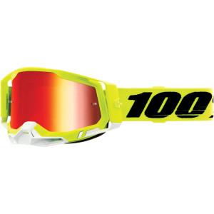 100% Crossbril Racecraft 2 Yellow Mirror Red