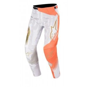 Alpinestars Techstar Factory Metal Crossbroek White/Orange Fluo/Gold