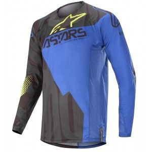 Alpinestars Techstar Factory Crossshirt Black/Dark Blue/Yellow Fluo