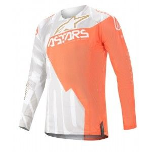 Alpinestars Techstar Factory Metal Crossshirt White/Orange Fluo/Gold