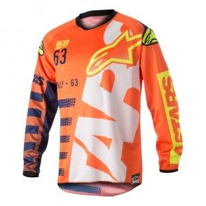Alpinestars Kinder Crossshirt Racer Braap Fluor Orange/Dark Blue/White