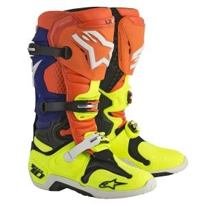 Alpinestars Crosslaarzen Tech 10 Fluor Orange/Blue/White/Fluor Yellow
