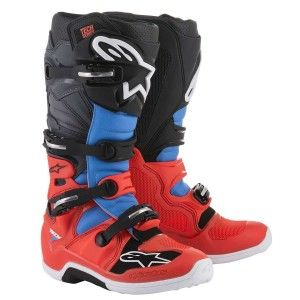 Alpinestars Crosslaarzen Tech 7 Fluor Red/Cyan/Gray/Black