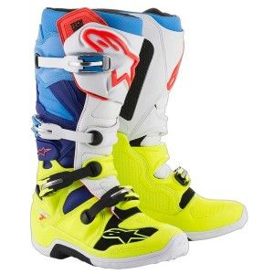 Alpinestars Crosslaarzen Tech 7 Fluor Yellow/White/Blue/Cyan