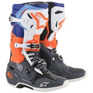 Alpinestars Crosslaarzen Tech 10 Cool Gray/Fluor Orange/Blue/White (model 2019)