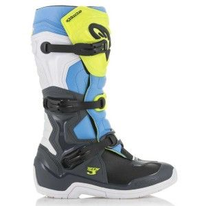 Alpinestars Crosslaarzen Tech 3 Cool Gray/Fluor Yellow/Cyan