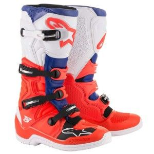 Alpinestars Crosslaarzen Tech 5 Fluor Red/Blue/White