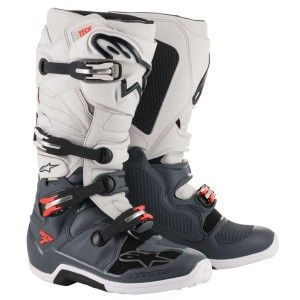 Alpinestars Crosslaarzen Tech 7 Dark Gray/Light Gray/Fluor Red