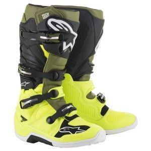 Alpinestars Crosslaarzen Tech 7 Fluor Yellow/Military Green/Black