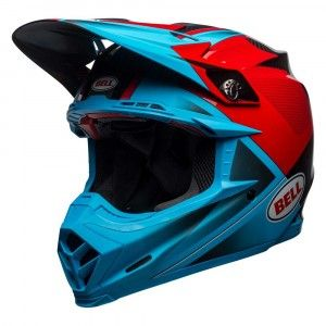 Bell Crosshelm Moto9 Flex Gloss/Matte Cyan/Red Hound