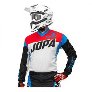 Jopa Crossshirt Looper White/Red/Blue