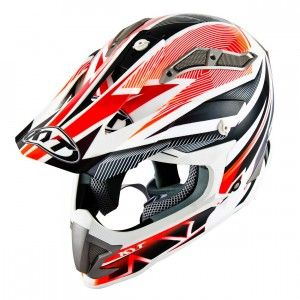 Kyt Crosshelm Strike Eagle Stripe White Red Fluor-XS