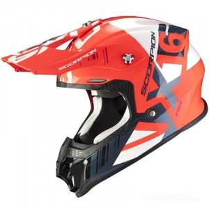 Scorpion VX-16 Air Mach Crosshelm White/Neon Red