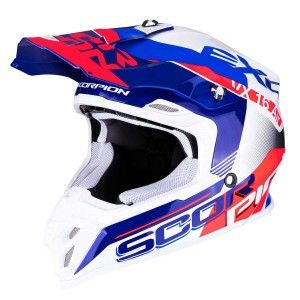 Scorpion Crosshelm VX-16 Arhus Pearl White/Blue/Neon Red