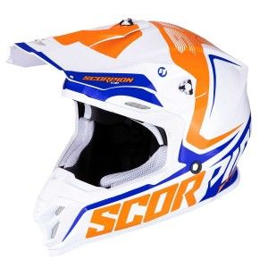 Scorpion Crosshelm VX-16 Ernee Pearl White/Orange/Blue