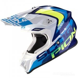 Scorpion VX-16 Air Nation Crosshelm White/Blue/Fluor Yellow