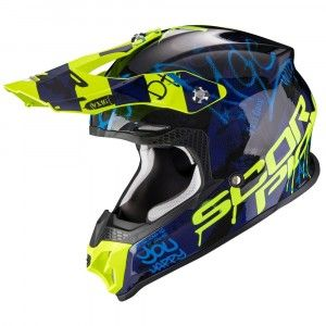 Scorpion VX-16 Air Oratio Crosshelm Blue/Fluor Yellow