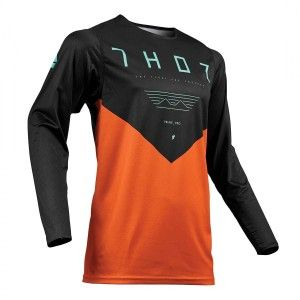 Thor Shirt Prime Pro Jet Black/Red Orange